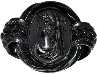 One Kings Lane Vintage Antique Whitby Jet Cameo Brooch - Little Treasures