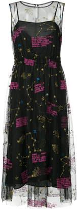 Muveil zodiac-embroidered mesh midi dress