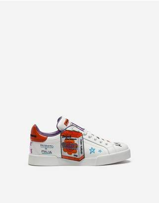 Dolce & Gabbana Calfskin Sneakers With Embroidered Patch