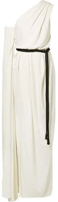 Belted One-shoulder Crepe Gown - Ivory