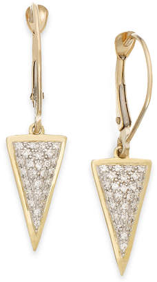 Wrapped wrappedTM Diamond Triangle Drop Earrings in 10k Gold (1/6 ct. t.w.), Created for Macy's