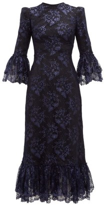 The Vampire's Wife The Wild Flower Metallic Floral Lace Midi Dress - Womens - Black Navy