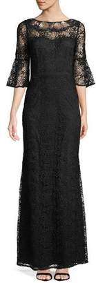 Aidan Mattox Embroidered Bell-Sleeve Gown