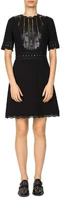 The Kooples Drapey Grommeted Lace-Inset Dress