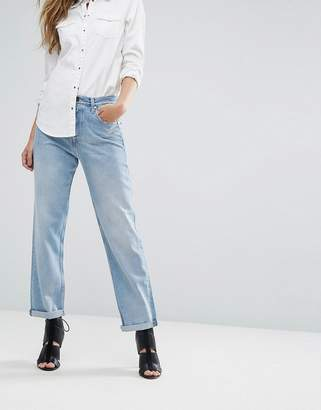 Replay High Waist Slouchy Boyfriend Jean with Slogan Back Pocket