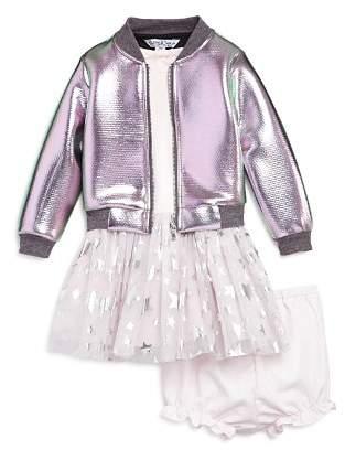Pippa & Julie Girls' Metalic Bomber Jacket, Tutu T-Shirt Dress & Bloomers Set - Baby