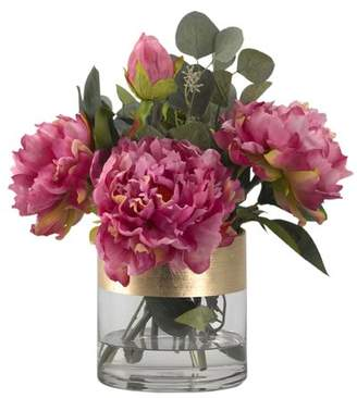 Rosdorf Park Peonies Floral Arrangement in Glass Vase