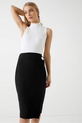 Dorothy Perkins Womens Contrast Button Wrap Skirt - Black