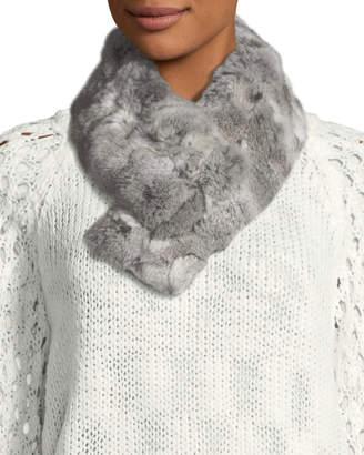 Adrienne Landau Rabbit Fur Clip Scarf, Gray