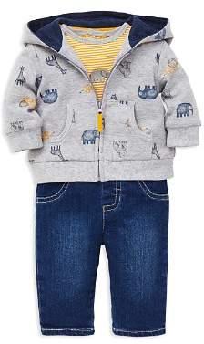 Little Me Girls' Jungle Animal-Print Hoodie, Striped Elephant Bodysuit & Jeans Set - Baby