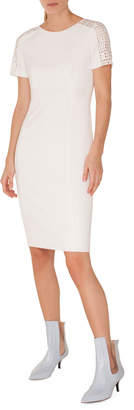 Akris Punto Crewneck Lace-Shoulder Short-Sleeve Jersey Sheath Dress