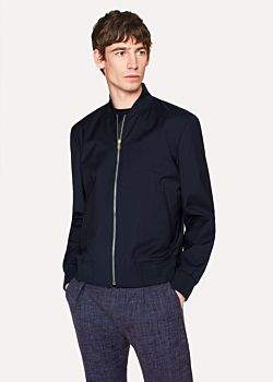 Paul Smith Men's Navy Wool Bomber Jacket With Loro Piana Storm System®