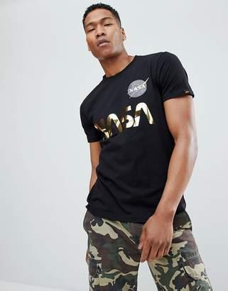 Alpha Industries Nasa Gold Foil Print T-Shirt in Black