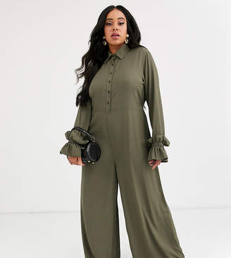 Verona Curve long sleeve jumpsuit with frill sleeves in khaki