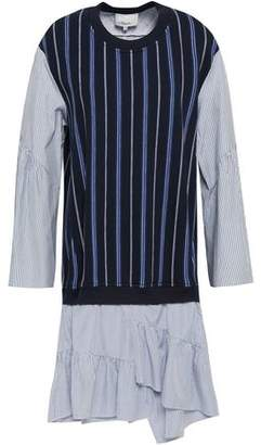 3.1 Phillip Lim Striped Poplin-Paneled French Cotton-Terry Dress