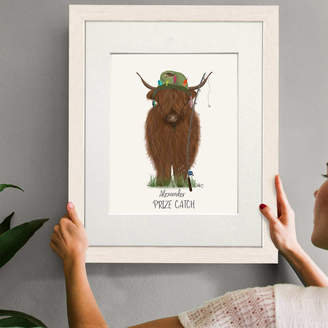 FabFunky Home Decor Personalised Highland Cow Print For Fishermen