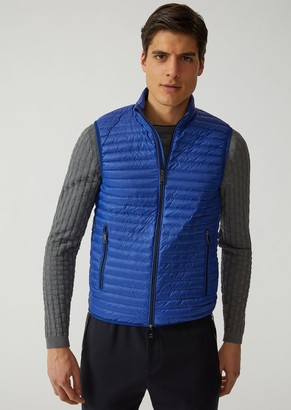 Emporio Armani Sleeveless Down Jacket In Technical Fabric