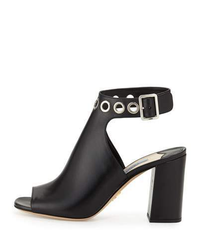 pradaPrada Grommet-Studded Ankle-Wrap Sandal, Black (Nero)