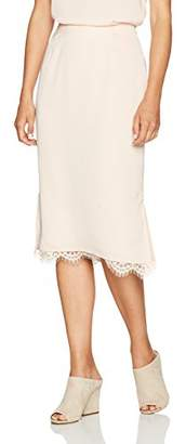 Paris Sunday Women's Column Midi Skirt with Lace Detail