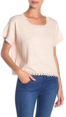 Nation Ltd. Lucia Frayed Square Neck Sweater Top