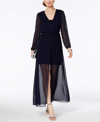 Betsy & Adam Petite Embellished A-Line Gown