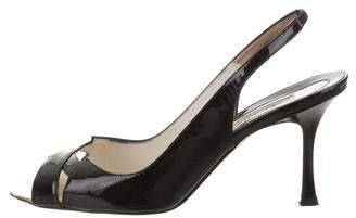 Brian Atwood Patent Leather Peep-Toe Slingback Pumps