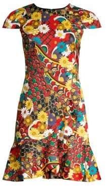 Alice + Olivia Kirby Ruffled Stretch Cotton Dress