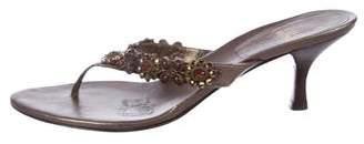 Stuart Weitzman Embellished Thong Sandals