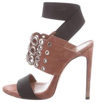 Alaia Suede Crossover Strap Sandals
