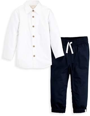 Burt's Bees Poplin Button Front Shirt & Poplin Jogger Pant Set