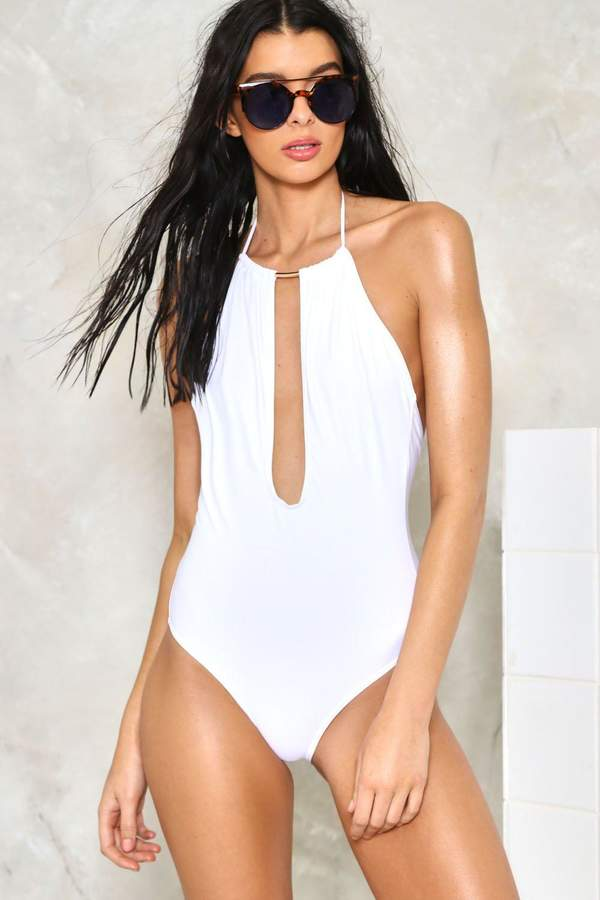 nastygal All Time Low Plunging Swimsuit