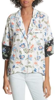 Joie Desmonda Floral Contrast Cuff Silk Blouse
