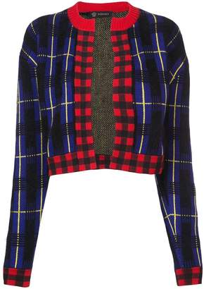 Versace knitted check cardigan