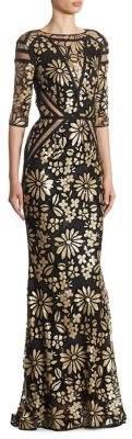 Talbot Runhof Floral Sequin Gown