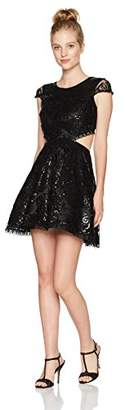 My Michelle Women's All Over Lace Dress Cut Outs