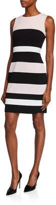 Modern American Designer Striped Scuba Crepe Sheath Dress