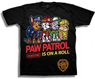 """Paw Patrol Boys' """" Is On A Roll"""" 8 Bit Characters Short Sleeve Graphic T-Shirt"""