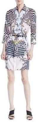Versace Button-Front Long-Sleeve Belted Harlequin-Print Silk Shirtdress