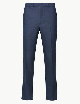 Marks and Spencer Big & Tall Blue Textured Slim Fit Trousers