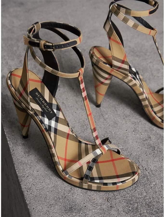 657a8f32e86 Burberry Vintage Check Cotton High-heel Sandals detail image