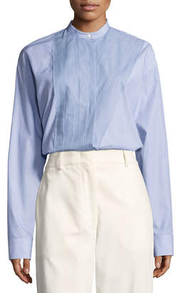 Cédric Charlier Band-Collar Poplin Blouse, Blue/White