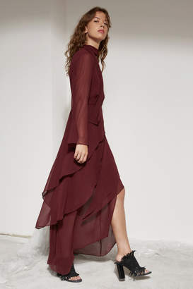 C/Meo COLLECTIVE AUTONOMY LONG SLEEVE FULL LENGTH DRESS mahogany