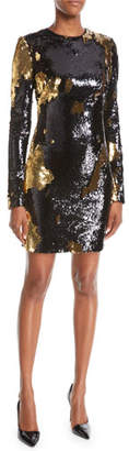 Naeem Khan NK32 Long-Sleeve Sequin Mini Dress