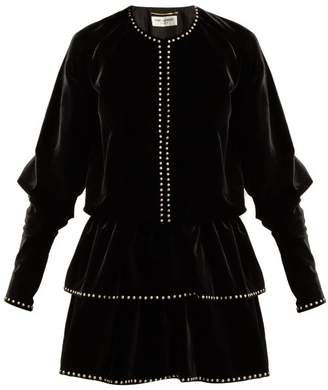 Saint Laurent Studded Velvet Dress - Womens - Black
