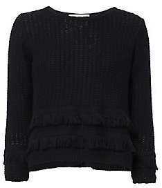 Autumn Cashmere Cross Back Fringe Sweater $235 thestylecure.com