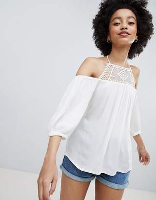 Only Off Shoulder Top With Crochet Insert