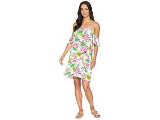 LaBlanca La Blanca Bora Bora Cold Shoulder Flutter Sleeve Dress Cover-Up