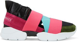 Emilio Pucci Pink & Black Colorblock Slip-On Sneakers $525 thestylecure.com