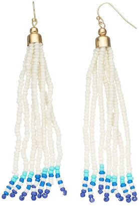 Blue Seed Bead Nickel Free Tassel Drop Earrings $18 thestylecure.com