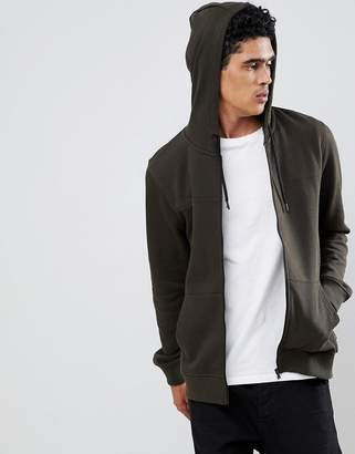 Burton Menswear zip up hoodie in khaki